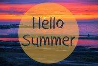 Sunset Or Sunrise At Sweden Ocean, Text Hello Summer