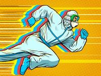 Hero doctor runs. Covid19 coronavirus epidemic