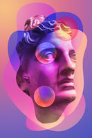 Collage with plaster antique sculpture of human face in a pop art style. Creative concept image with ancient statue head in pastel colors. Zine culture. Contemporary art style poster. Apollo bust.