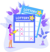 Leading girl notes numbers lottery, lotto, raffle, keno. Modern illustration flat style. A woman with a pencil writes on a ticket. Vector