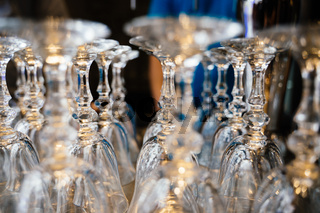 Crystal glass goblet upside down, a lot of