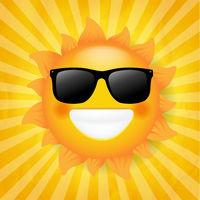 Sun With Sunglasses Isolated Sunburst Background