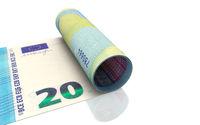 20 Euro aufgerollt