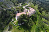 Aerial view of Santa Casilda shrine, La Bureba, Burgos province, Castile-Leon.