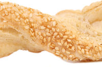 Close up of cheese sticks with seeds.