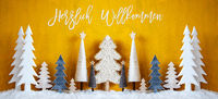 Banner, Christmas Trees, Snow, Yellow Background, Willkommen Means Welcome