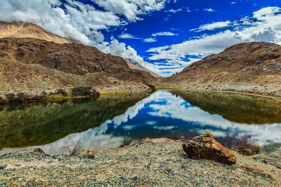 Lohan Tso mountain lake. Nubra valley, Ladakh, India