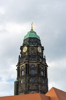 the clock tower of the old historic city council in downtown Dresden