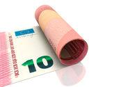 10 Euro aufgerollt