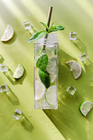Tall glass of cold mojito