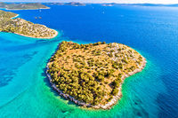 Small island in archipelago of Croatia aerial view