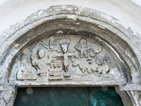 Christ on the cross, tympanum from 12th century