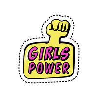 Girls power, colorful sticker with phrase and fist, patch badge with motivating slogan, feminism, vector illustration.