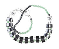tangled necklace from jade and hematite beads