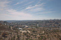 View of Holy city of Jerusalem in Israel from the Mount of Olives