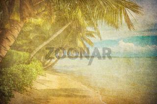 grunge image of tropical beach