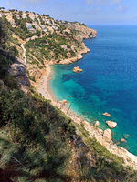 Aerial view Mediterranean Sea and beach of Costa Blanca. Spain