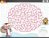 maze educational game with Santa Claus on Christmas time