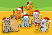 cartoon kittens characters group on Christmas time