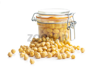 Healthy canned chickpeas in jar