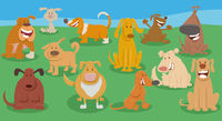 funny dogs cartoon animal characters group