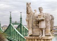 Budapest, HUNGARY - FEBRUARY 15, 2015 - Statue of Stephen I of Hungary on Gellert Hill