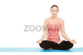 Yoga pose padmasana in front of white background