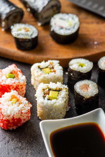 Japanese sushi food.