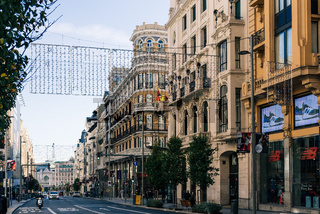 Gran via Avenue in Madrid with Christmas decoration