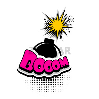 Comic book text bubble advertising bomb, boom