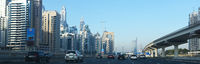View of the city of Dubai and the Sheikh Zayed road from the car. The UAE, the evening of 12 March 2020
