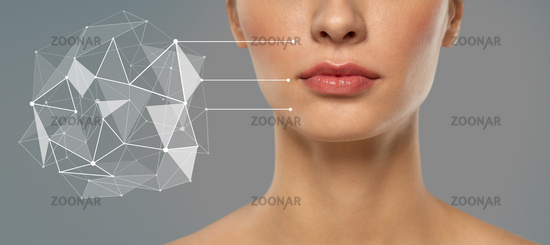 woman with futuristic pointers showing face skin
