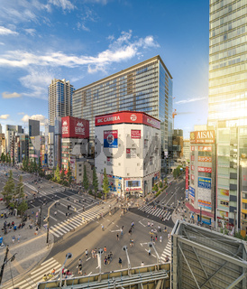 Aerial sunset view of the Akihabara Crossing Intersection in the electric town of Tokyo in