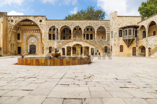 Courtyard with fountain at Emir Bachir Chahabi Palace Beit ed-Dine in mount Lebanon Middle east, Lebanon