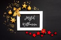 Frame, Red And Golden Christmas Decoration, Herzlich Willkommen Means Welcome