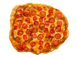 vegetarian red cherry tomato pizza