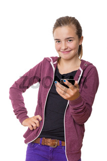 smiling teenage girl with mobile phone, , isolated on white