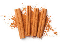 Cinnamon Sticks And Powder Isolated On White