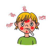 Boy showing symptoms of fever with a fever knife - hand-drawn vector illustration