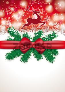 Christmas Card Red Ribbon Snowfall Rentier