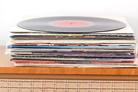 Pile of the vinyl records
