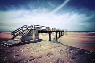 pier sea panorama normandie bridge landing ship dock