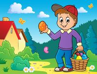 Boy with Easter eggs theme image 4