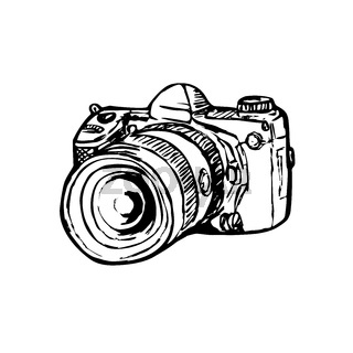 DSLR Digital Still Image Camera with Zoom Drawing Side Black and White