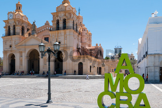 Argentina Cordoba San Martin square and cathedral  with welcome sign
