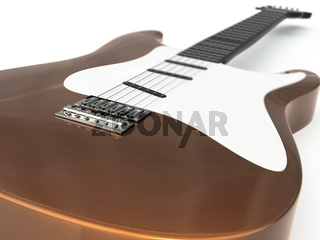 Brown electric guital on white background.