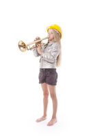 young girl with yellow helmet playing trumpet