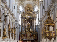 Interior of St. Peter Church - Baroque High Altar and Rococo Pulpit - Munich
