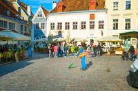Man cleaning street, Tallinn Estonia