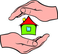 House in hands icon, icon cartoon